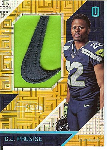 Football NFL 2016 Unparalleled RPS Rookie Materials Brand Logo #18 C.J. Prosise MEM 1/2 Seahawks by unparalleled