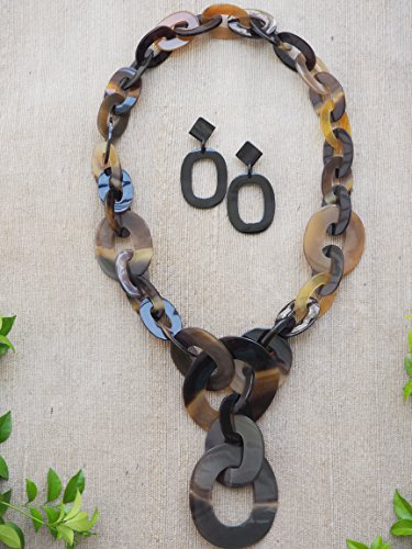 Natural Buffalo Horn Material Jewelry Set of Necklace + Earrings