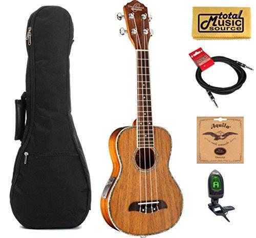 Oscar Schmidt All Koa Concert Acoustic/Electric Ukulele, OU5E,W/ Gigbag,Tuner,Strings.Cable & PC by Oscar Schmidt