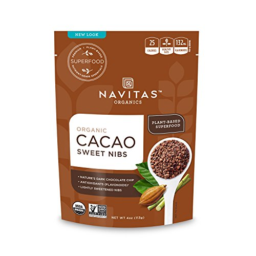 Navitas Organics Sweetened Cacao Nibs, 4oz. Pouch(packaging may vary)
