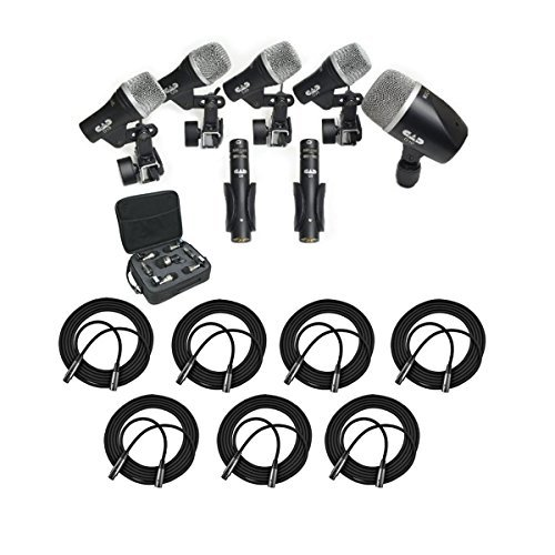 (CAD Audio Stage7 Premium 7-Piece Drum Instrument Mic Pack With Vinyl Carrying Case & 7 - 20' XLR Cables)