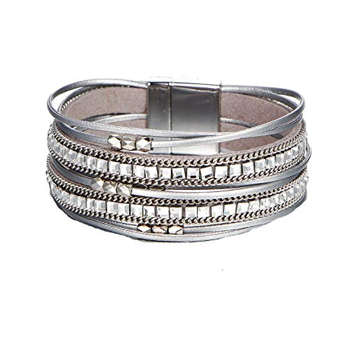 Multi Layer Leather Bracelet Braided Wrap Cuff Bangle Alloy Magnetic Clasp Handmade Jewelry for Women Girl - Silver Leather Bangle