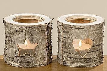Weihnachtsdeko Aus Birke.Unbekannt 2 Stk Birke Teelichthalter Lys Birkenstamm Natur Braun Holz Birkenholz Deko Holzstamm Windlicht H7cm Teelichte Weihnachtsdeko Herz Stern