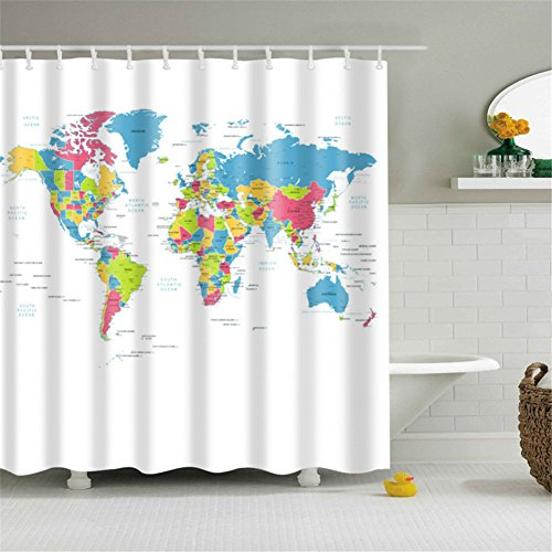 HOMEE World Map Fabric Stall Shower Curtain Water Repellent PEVA Polyester Educational Geographical Mildew Resitant - 70 x 70 -inch (180 x 180 cm) with (Abc 13 Days Of Halloween)