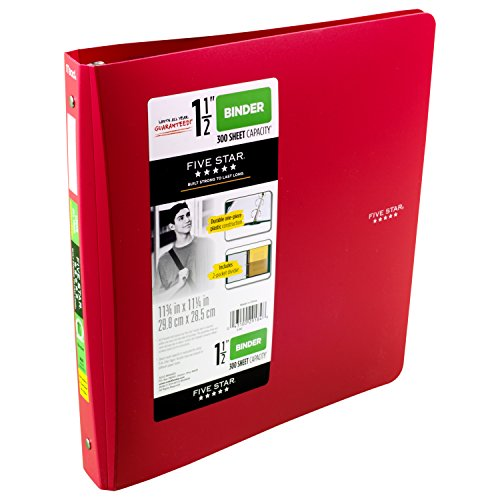 Five Star 1-1/2 Inch 3 Ring Binder, Red (72133)