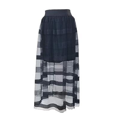 IShang Women's Stretchy Sheer Mesh Lace Long Skirt Chiffon Beach Skirt (Black)(Stripes) at Women's Clothing store
