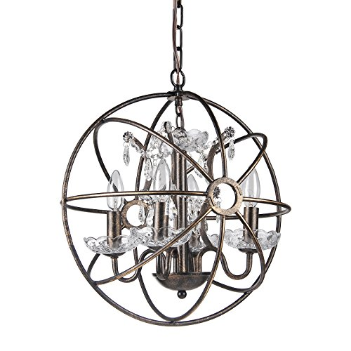 Edvivi Dover 4-Light Antique Bronze Globe Sphere Orb Cage Chandelier Ceiling Fixture with Crystals 16 Glam Lighting