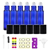 Essential Oil Roller Bottles 10ml (Cobalt Blue, Glass, 6 Pack, 3 Extra Roller Balls, 24 Pieces Labels, Opener, Funnel, Dropper and Brush) Roll on Bottles