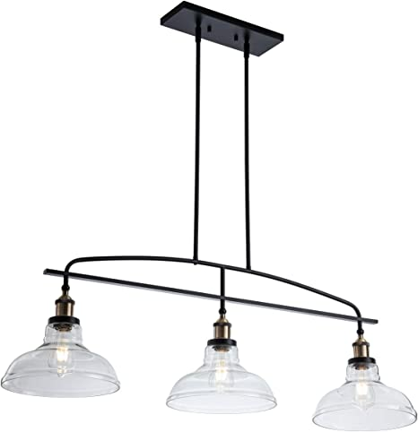 Modern 3 Light Pendant Lighting Adjustable Kitchen Island Lights Hanging Height Lamps With Glass Shade Linear Chandelier Ceiling Light For Dining Living Open Kitchen Room Home Improvement