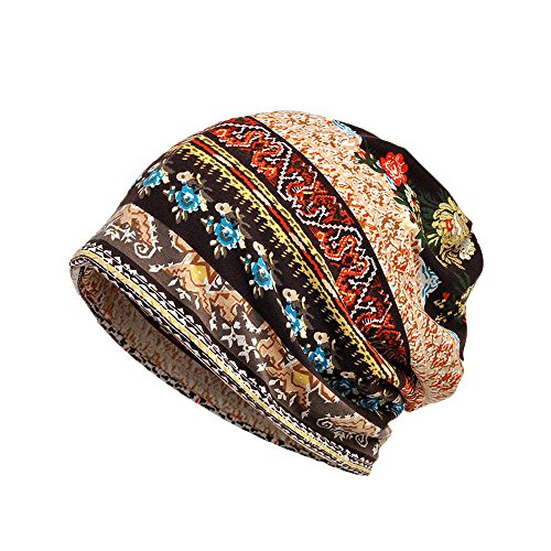 Price comparison product image Challyhope Retro Ethnic Printed Hat Ruffle Cancer Unisex Hat Beanie Scarf Collar Turban Head Wrap Cap(Coffee,  one-Size)