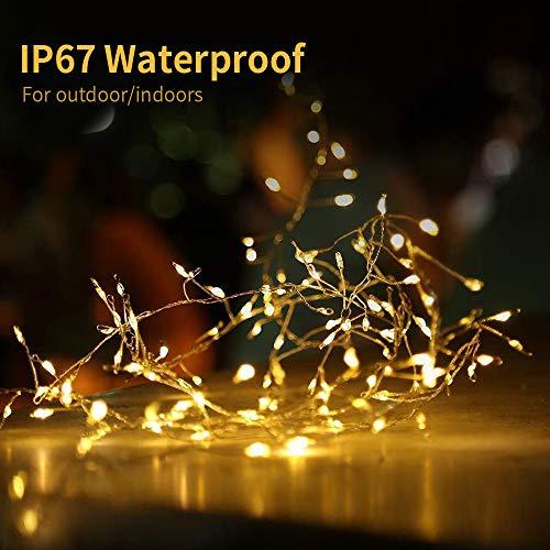 Lichterkette batteriebetrieben 100 Lichtervorhang Feuerwerkskörper Licht Globe Lichterketten, Lichterketten Warmweiß, Innen- und Außenlichterketten, Lichterketten für Hochzeitsfeier Weihnachtsbaum