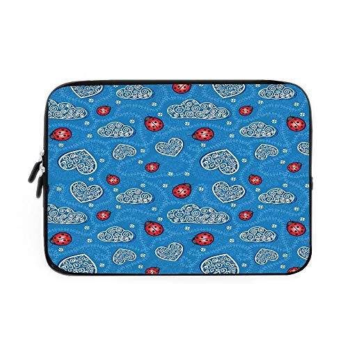 (Ladybugs Laptop Sleeve Bag,Neoprene Sleeve Case/Ladybugs and Ornate Clouds Magic in The Air Pure Hope Creatures Art Design Print/for Apple MacBook Air Samsung Google Acer HP DELL Lenovo AsusB)