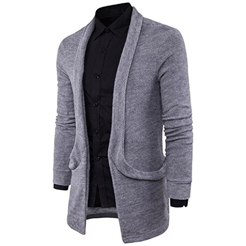 LUNIWEI Mens Casual Slim Fit Hooded knit Cotton Sweater Fashion Solid Long Trench Coat Blazer Jacket (M, - How Work Polarized Lenses