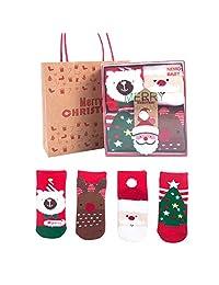 SuYoYo Kids Toddler Thick Christmas Socks with Gift Box Baby Cotton Xmas Socks Set