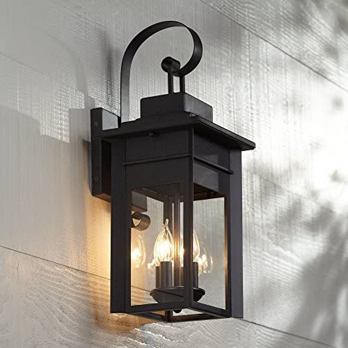 Bransford Traditional Outdoor Wall Light Fixture Black Specked Gray Carriage 21″ Clear Gla