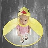 Cute Raincoat Kids,Vanvler Children [ UFO Umbrella ] Baby Rain Coat Hat Magical Hands Free (L, Yellow)
