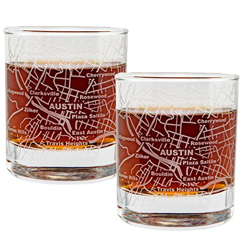 City Map Whiskey Old Fashioned Glasses - Set of 2 Etched Tumblers - Austin, - Austin Glasses