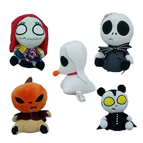 5pcs The Nightmare Before Jack Skellington Sally Plush Doll Keychain
