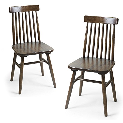 Spindle Back Windsor Chair (Joveco Elm Wood Classic Mission Style Side Chair - Set of 2 Dark Brown)