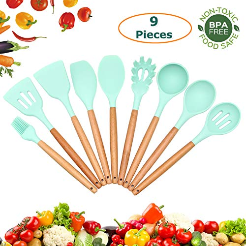 - 9-Piece Food-Grade Non-Toxic Silicone Cooking Utensil Set by Yeasgo, Wooden Handle Kitchen Gadgets Utensils (includes Turner Spatula Spoon Pasta Server and more) for Non-stick Cookwares (Mild Green)