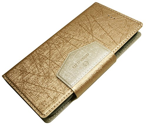 S4 Case, Samsung Galaxy S4 Soft Pearl Leather Case, Mobile Slim Wallet Glossy Cover - Credit Card ID Holders - Power Magnetic Clip (Champagne Gold with Light Gold)