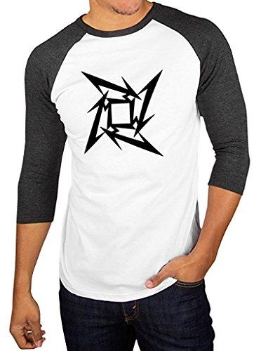 - Metallica Metal Band Star Logo Baseball Tee Raglan 3/4 Sleeve Men's T Shirt Medium White/Charcoal Black