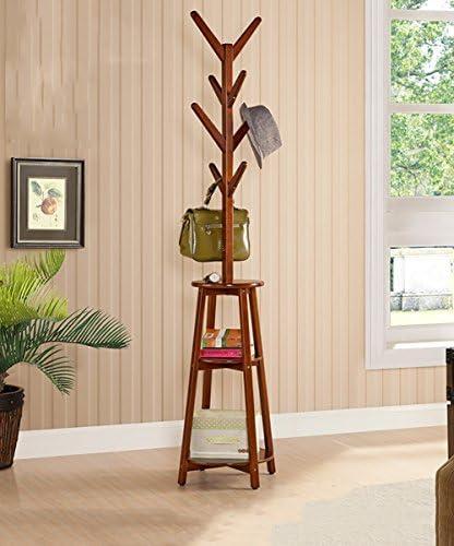 ZEMIN コートラック コートラック衣服帽子スタンドハンガー棚ソリッドウッドフリースタンド、2色、45 * 45 * 191CM (色 : Brown)