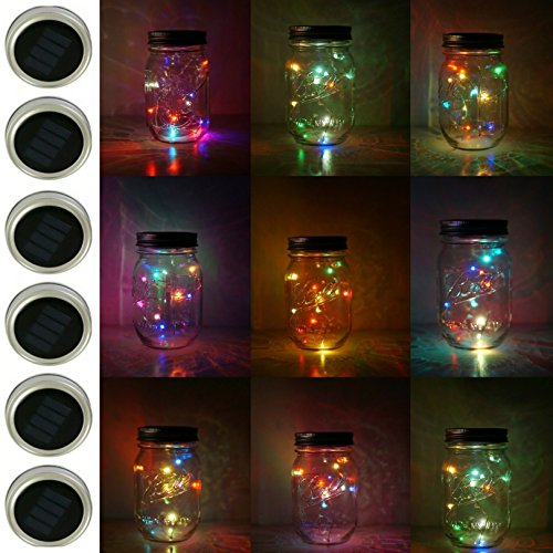 6 Pack Mason Jar Lights, 10 LED Solar Colorful Flicker Fairy String Lights Lids Insert for Garden Deck Patio Party Wedding Decorative Lighting Fit for Regular Mouth Jars