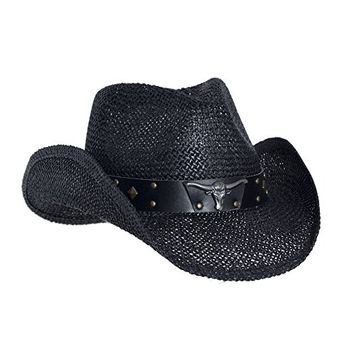 Black Straw Cowboy Hat for Men, Faux Leather, Longhorn, Shapeable ()