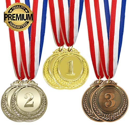 IFAMIO Premium 6 Pcs Award Medals Olympic Style Gold Silver Bronze Winner Medals with Ribbon