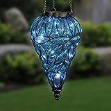 Exhart Blue Solar Lantern - Glass Tear-Shaped
