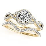 Jewelmore 1/2 Carat Halo Daimond Engagement Bridal Ring Set 14K Solid Yellow Gold (I-J/I2-I3) (7)