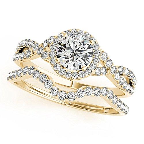 JewelMore 1/2 Carat Halo Daimond Engagement Bridal Ring Set 14K Solid Yellow Gold (I-J/I2-I3) (7)