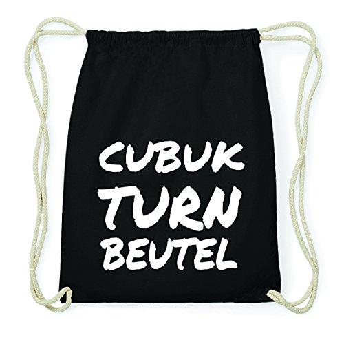 JOllify CUBUK Hipster Turnbeutel Tasche Rucksack aus Baumwolle - Farbe: schwarz Design: Turnbeutel