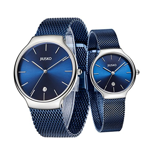 Jiusko Sapphire - Men Women Quartz Watches - Steel Mesh - 382 (His Her - Blue, Silver) by JIUSKO