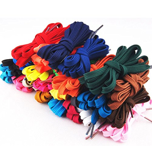 Tinksky 12 Pairs Flat Shoelaces Shoe Laces Strings for Sports Shoes Boots Sneakers Skates (Assorted Colors) (Flat Shoelaces Sport)