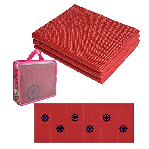 Khataland YoFoMat Kids, Ultra Thick Best Foldable Yoga Mat, Eco Friendly with Travel Bag, 60-Inch, Cherry Red