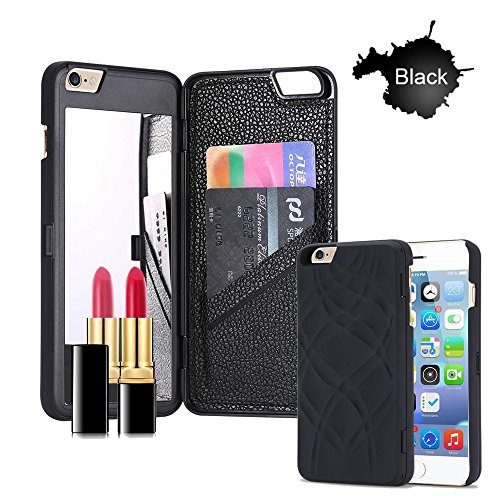 iPhone 6s Plus Case, [3D Mirror Series] Cards Holder Kickstand Wallet Style Protective Cover with Screen Protector for Apple iPhone 6 Plus / 6s Plus 5.5 Inch (Black)