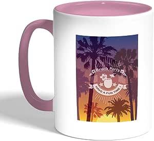كوب سيراميك للقهوة بطبعة حفلة الشاطئ ، لون بنك