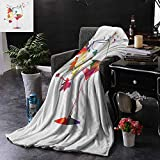 DONEECKL Hypoallergenic Blanket Winery Wine Glass with Colorful Imaginary Growing Leaves Aroma Sommelier Relax Joy Artsy Elegant and Comfortable W54 x L84 Multicolor