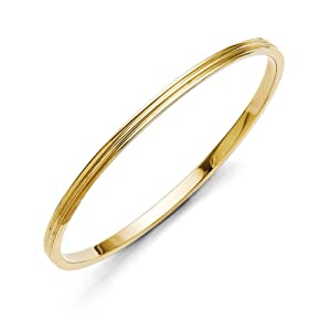 4mm Yellow Plated Stainless Steel Slip On Bangle Bracelet