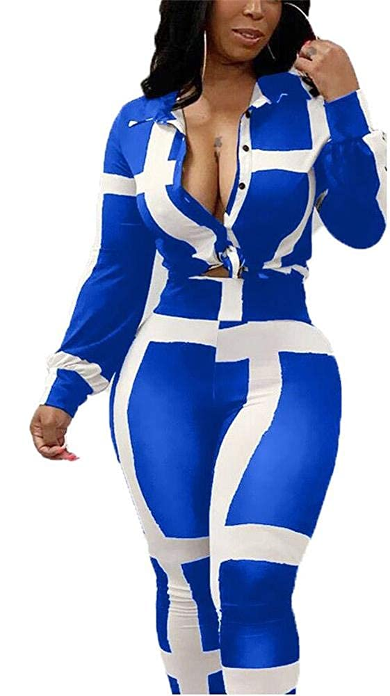 Womens 2 Piece Outfit Long Sleeve Button/Down Striped Print Crop Top and High Waist Skinny Long Pants Set