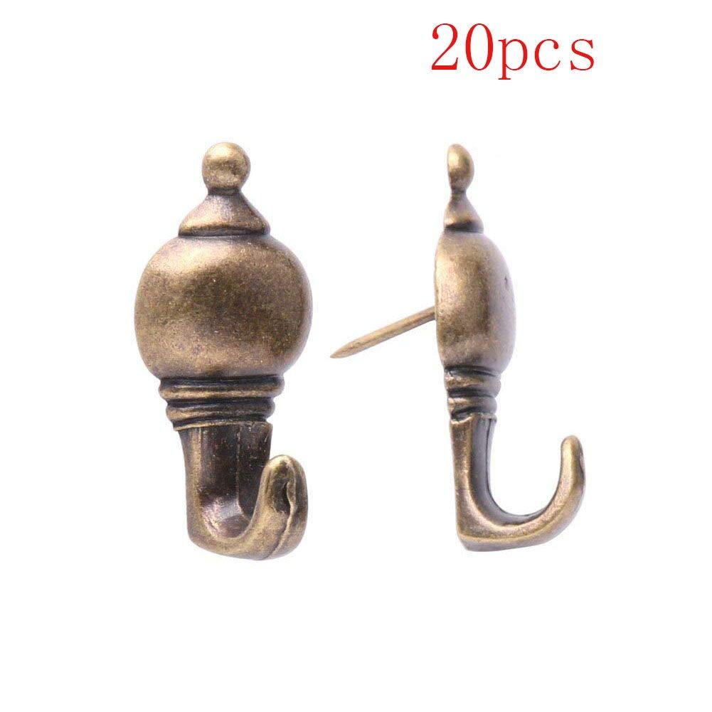 Mike Home 20 Pcs Zinc Alloy Pushpin Hook Hanger Reusable Hanging Hooks