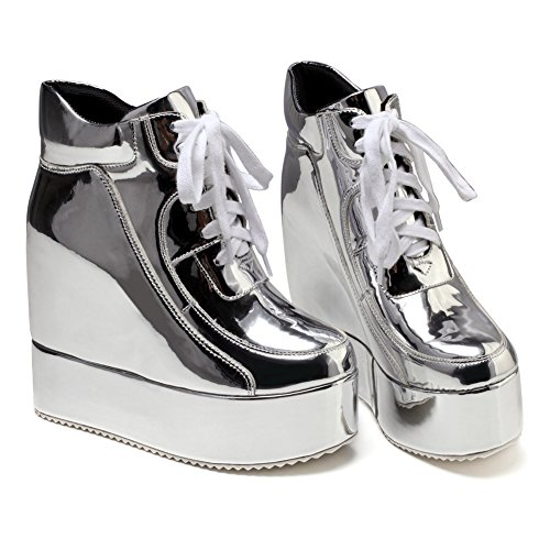 getmorebeauty Womens Hidden High Heel Platform Sneakers Wedge Lace Up Chelsea Punk Patent Ankle Boots Silver orxt1FT