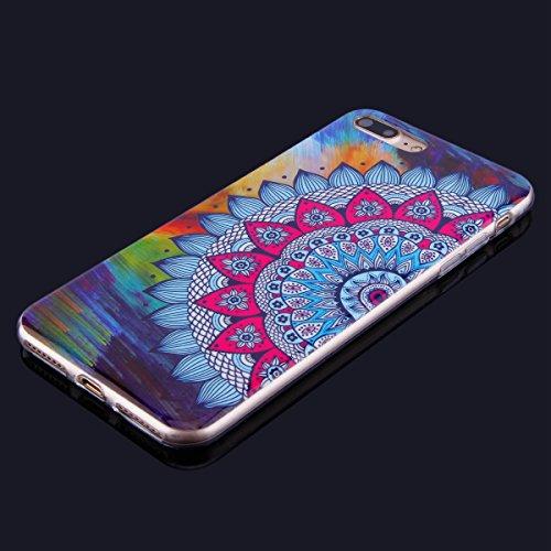 Funda iPhone 7 Plus,iPhone 7 Plus Carcase Transparente,Etsue Ultra Delgado Carcasa TPU para iPhone 7 Plus,iPhone 8 Plus Caso Gel Cristal Claro Silicona Cover con Creativa Gráfico Perro Mandala de flor Mandala de flores