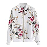Tootu Womens Retro Floral Printing Zipper Up Jacket Coat Outwear