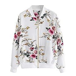 Hyiri Zipper Up Bomber Jacket Casual Coat Womens Retro Floral Printing Outwear