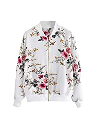 Whitegeese - Chamarra con Cierre para Mujer, diseño Floral