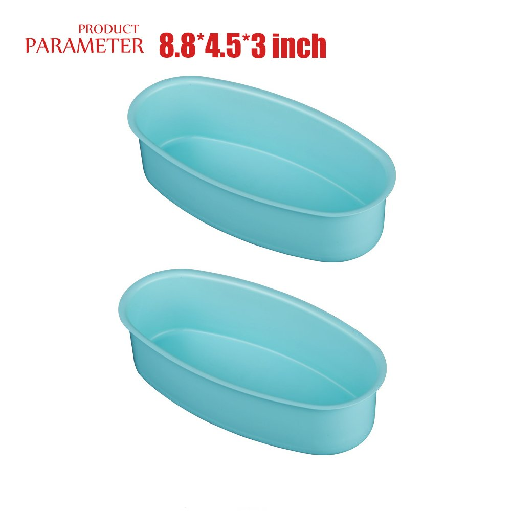 Champagne Cake Pop Moulds Bread Loaf Mold Cheese Cake Tin Set of 2 Bakeware Pans Oval Shape Nonstick Carbon Steell Baking Tray Cake Pan Kitchen Cooking Baking Tool -8.8 x 4.5 x 3.1 INCH QELEG