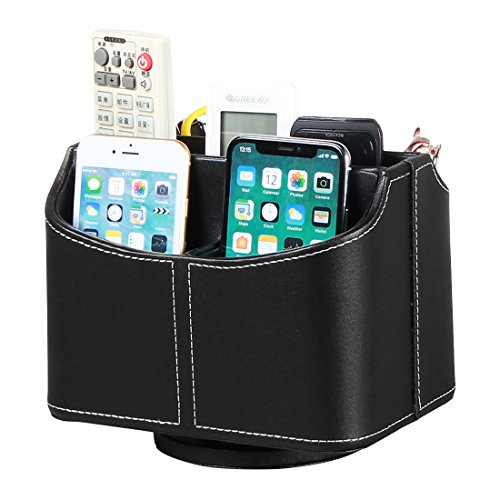PU Leather 360 Degrees Rotatable Remote Control Holder/Caddy Controller Organizer,TV Guide/Mail/Media Control Storage Organizer (Black) - Leather Mail Organizer